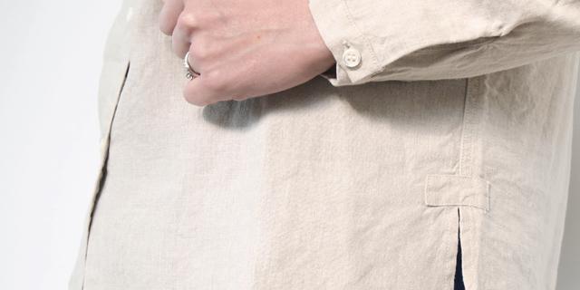 フレンチリネン スタンドカラーシャツ